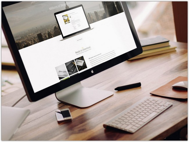 Apple iMac on Desk Mockup