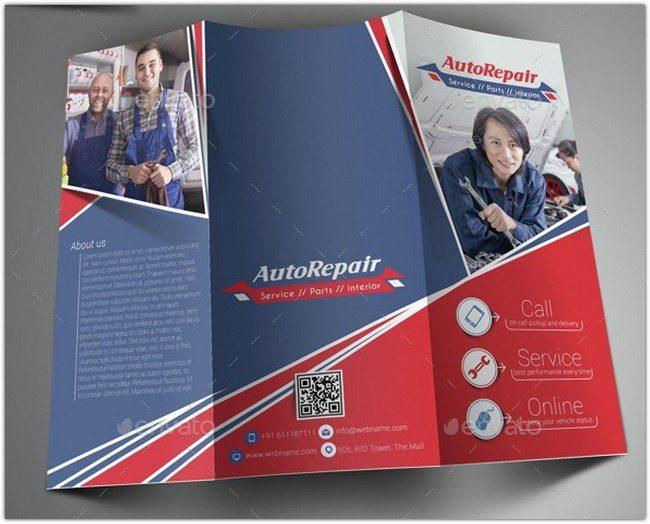 Auto Center Trifold Brochure Template