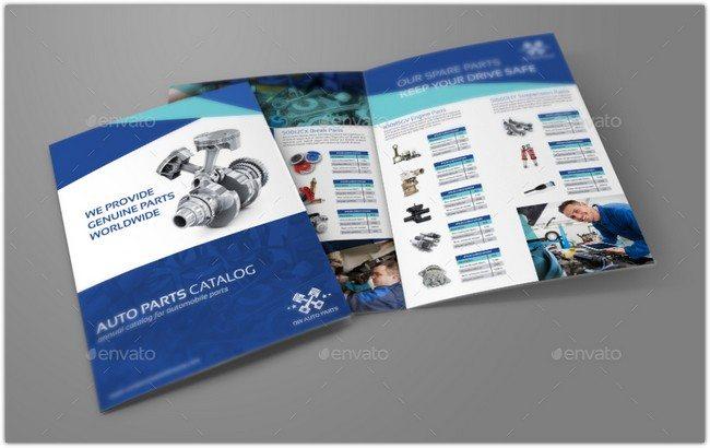 Auto Parts Catalog Bi-Fold Brochure Template