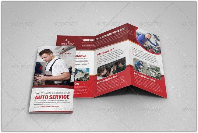 Auto Repair Service Trifold Brochure Template