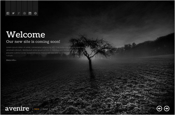 Avenir Coming Soon HTML Template