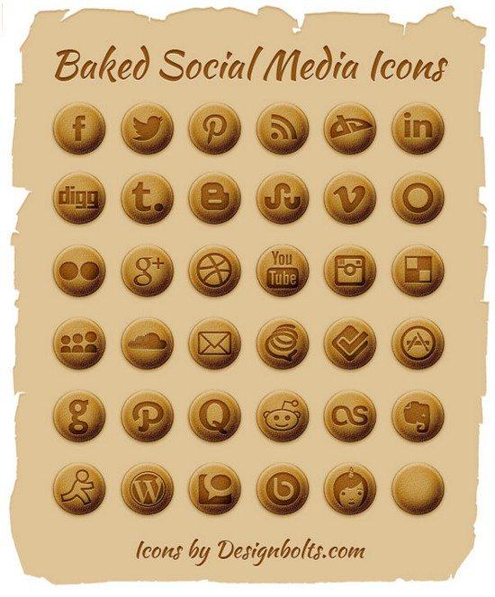 Baked Social Media Icons