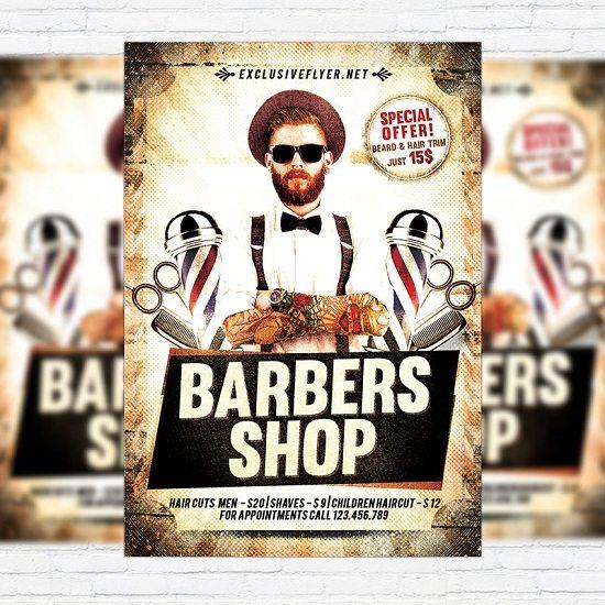 24 Creative Barbershop Flyer Templates Design 2018