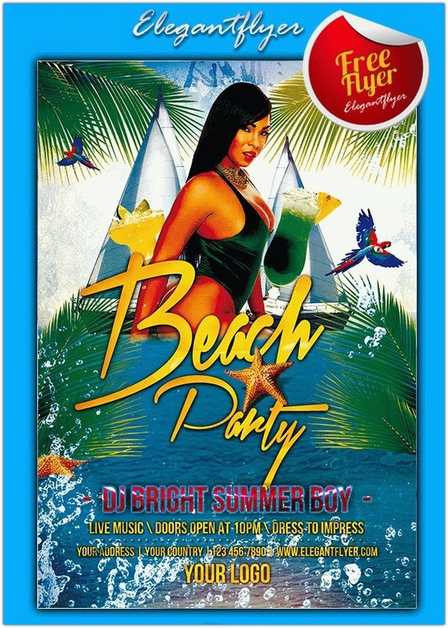 Beach Party – Free Flyer PSD Template + Facebook Cover