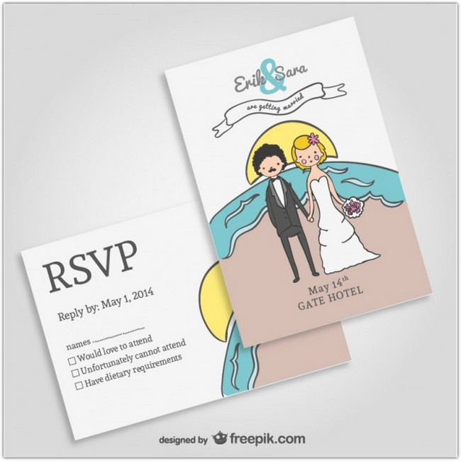 Beach wedding invitation mock-up Free Vector