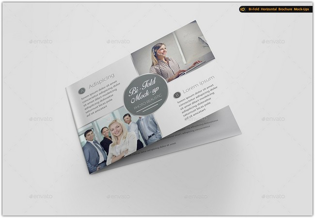 Bi-Fold Horizontal Brochure Mock-Up