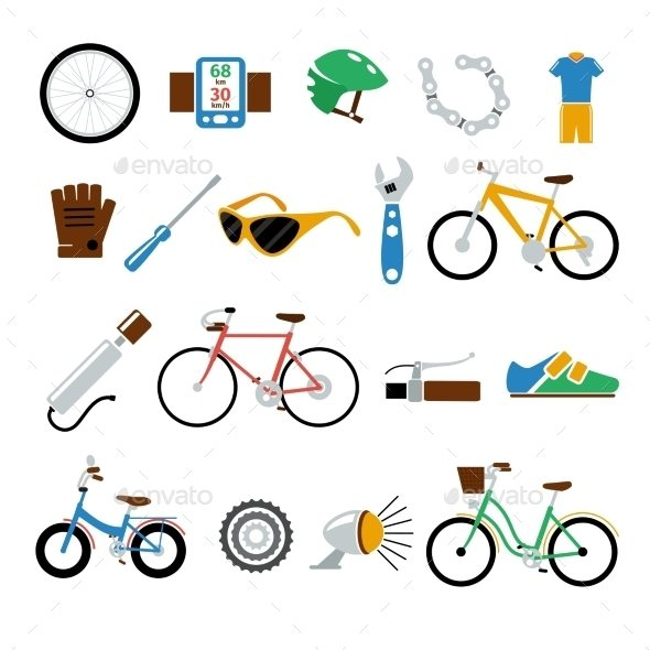 Bicycle, Bike Vector Flat Icons Set