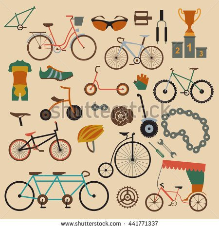 Bicycle icon set. Bike types