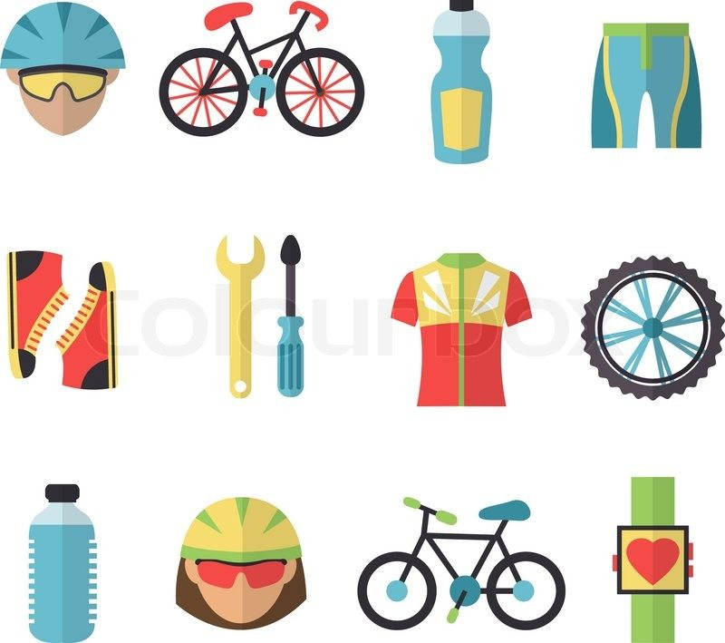 Bicycle sport fitness icons set