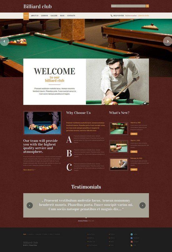 Billiards Responsive WP Theme