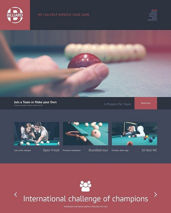 Billiards Responsive WordPress Theme