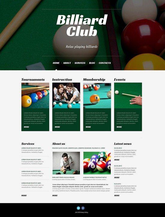 Billiards club Responsive WordPress Theme