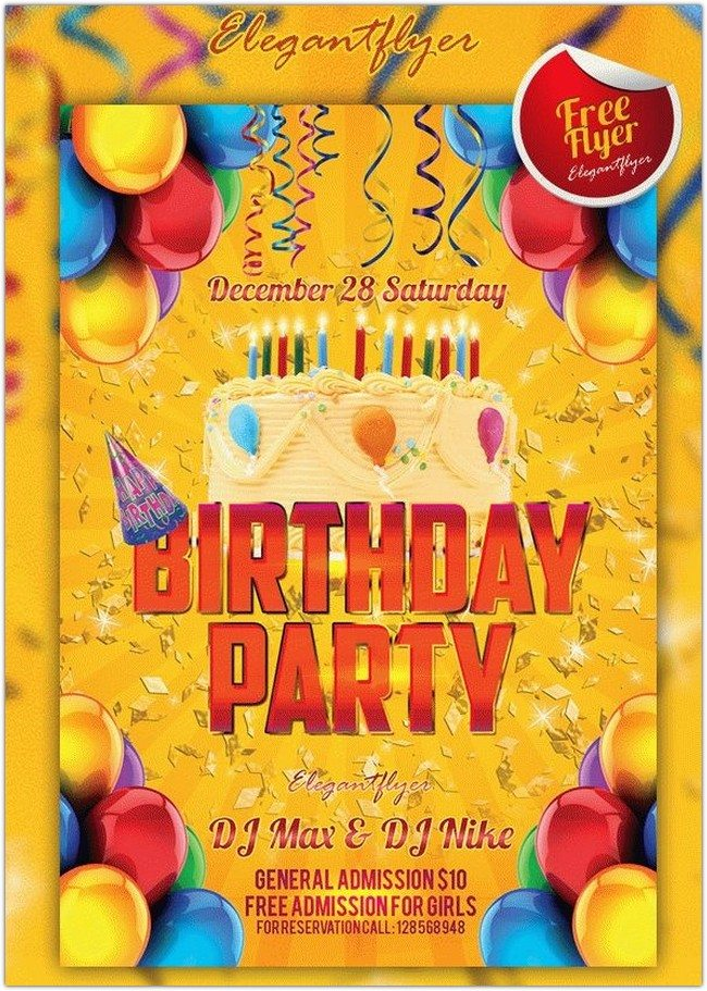 Birthday Party – Free Club and Party Flyer PSD Template