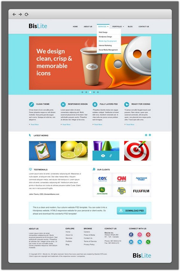 BisLite Business Website PSD Templates