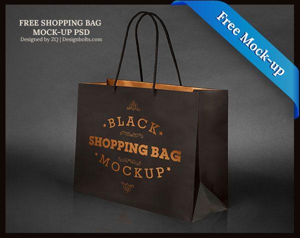 Black Shopping Bag Mock-up PSD File