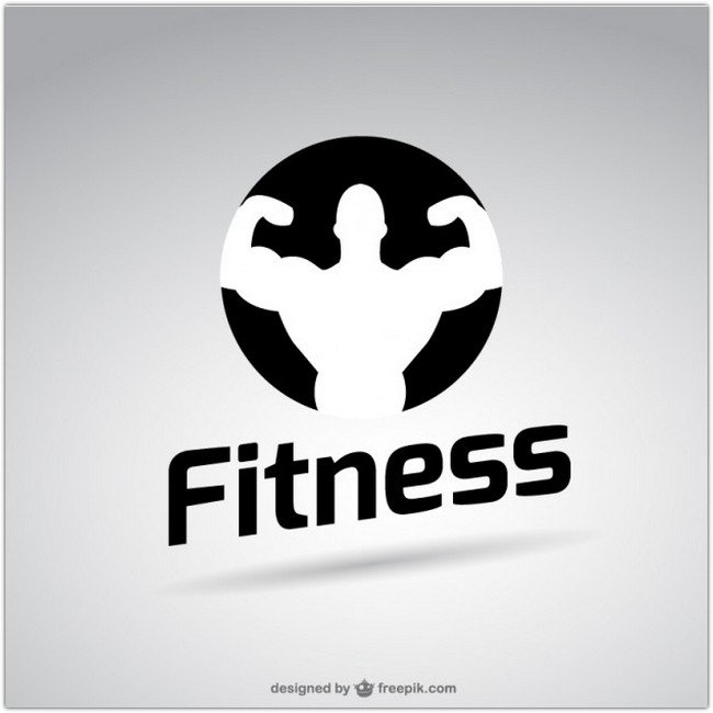 Black and white fitness logo Free Vector