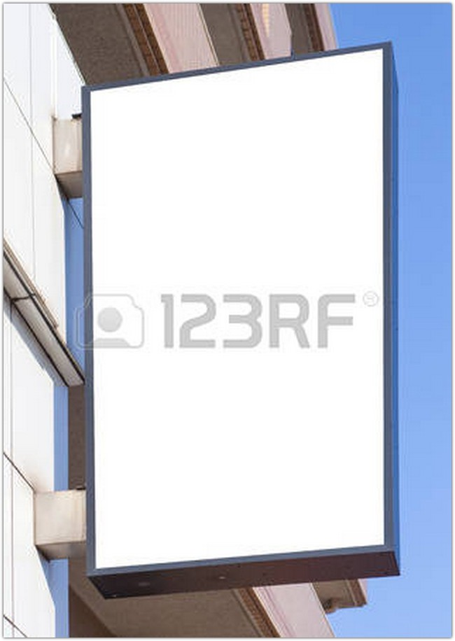 Blank metal shop sign board on wall
