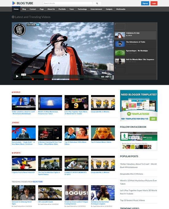 BlogTube Professional Responsive Video Blogger Template