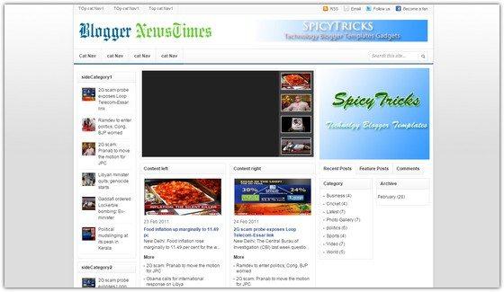 Blogger NewsTimes–AdSense optimized Premium Blogger Template
