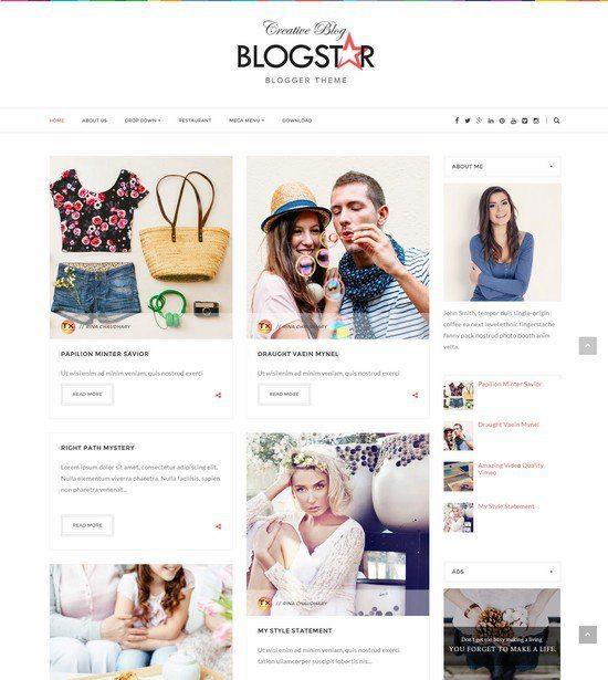 Blogstar Clean Responsive Blogger Template