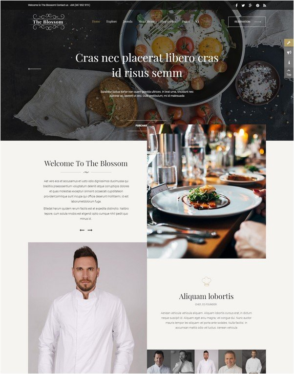 Blossom - Responsive Joomla Template For Restaurant/Food stores