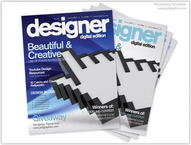 Blue magazine cover design