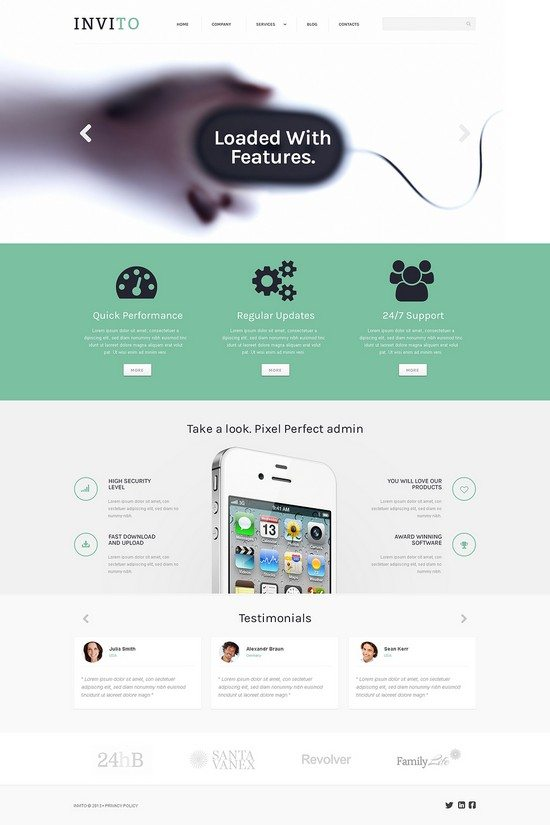 Blurred Mobile Company WordPress Theme