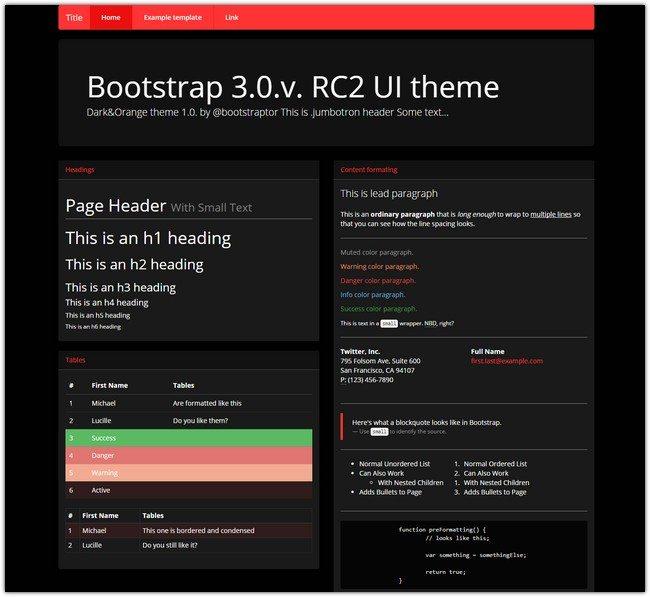 Bootstrap v.3.0. theme flat ui