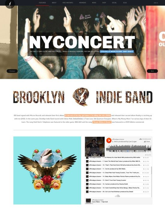 Brooklyn Indie Band – Responsive WordPress Theme