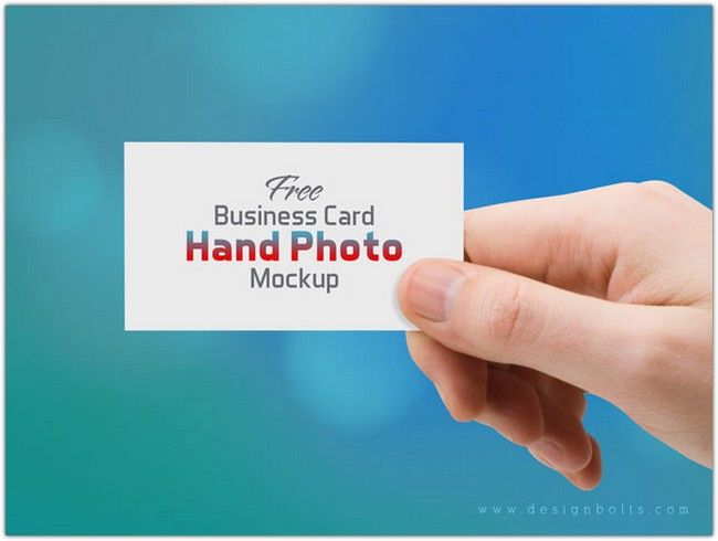Business Card Hand Photo Mock-up Psd