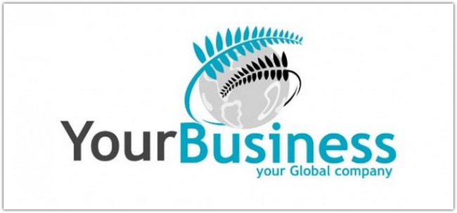 Business logo template with fern and earth Free Psd