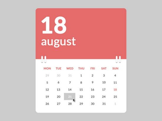 Calendar (.psd, HTML & CSS)