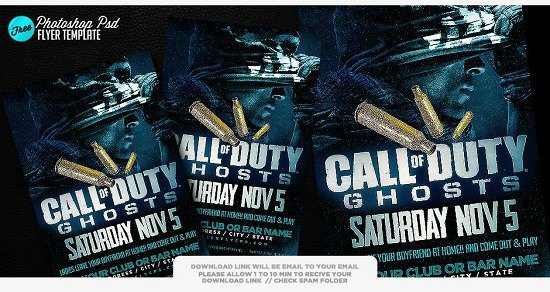 Call of Duty Ghosts Psd Flyer
