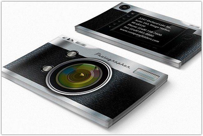 Camera Pocket Folder Design and Business Card Template
