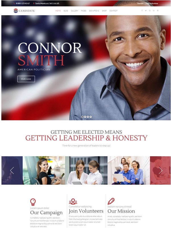 Candidate Political Campaign, WordPress Theme