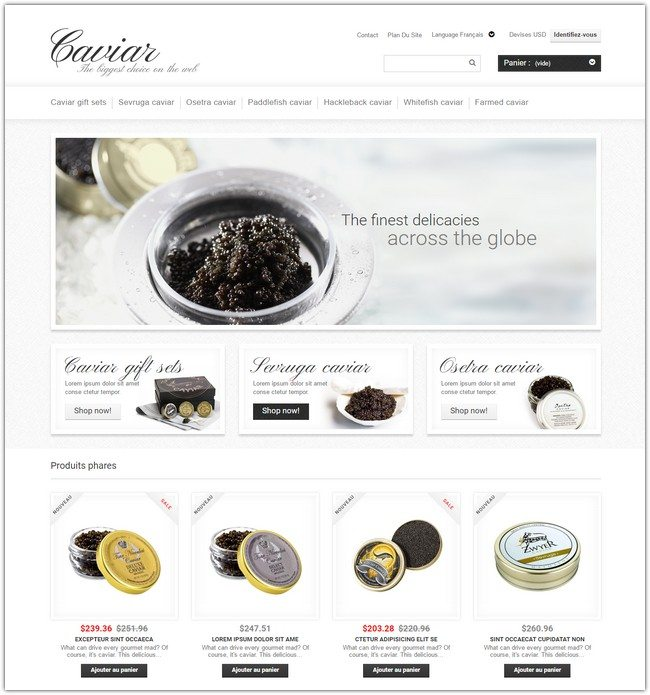 Caviar Online Store PrestaShop Theme