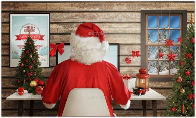 Christmas Desk Mockup Scene Creator