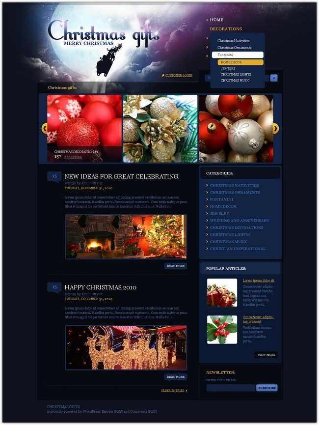 Christmas Gifts WordPress Christmas holiday theme
