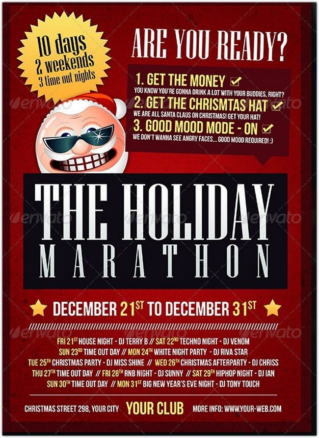 Christmas Holiday Marathon Flyer Template