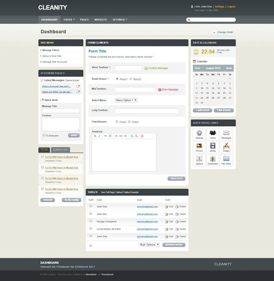 Cleanity Complete Admin CMS Skin