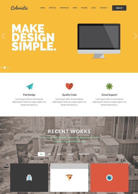 Coloristic - Flat OnePage Responsive Template