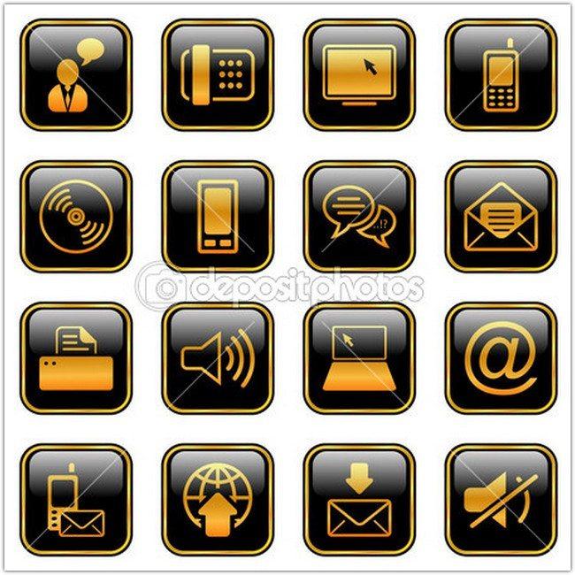 Communication icon set - golden series - Stock Illustration