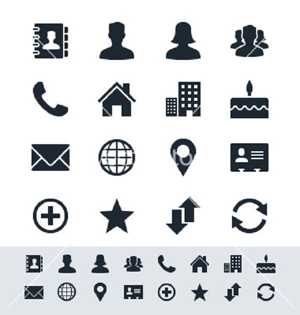 Contact icon set simplicity