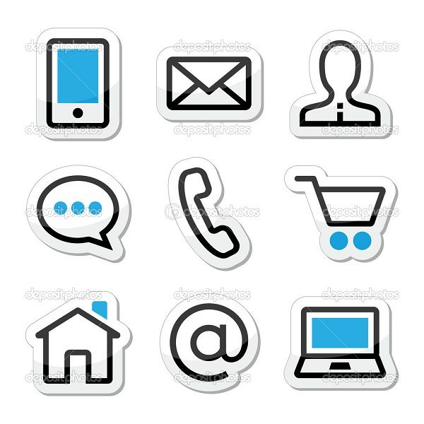 Contact-web-page-stroke-icons-set