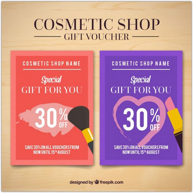 Cosmetic products flyers of sales Free Vector