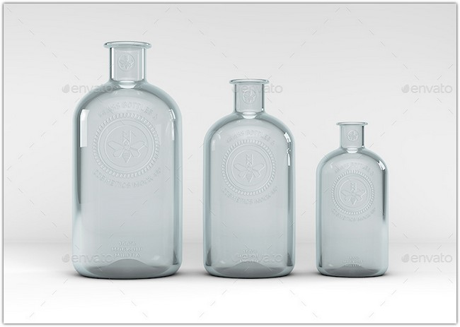 Cosmetics Mock-Up Boston Round Bottle Mock-UP