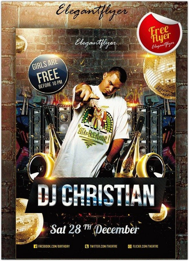 DJ Christian – Club and Party Free Flyer PSD Template