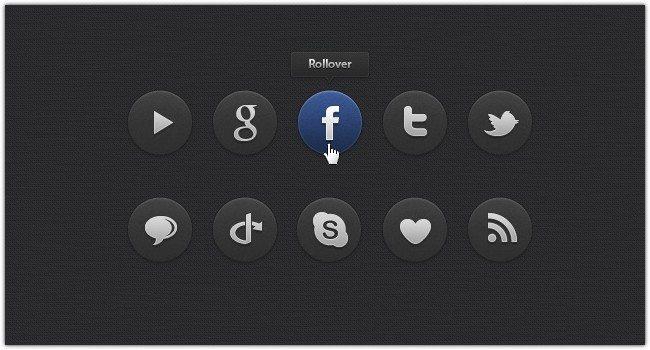 Dark Social Icons Set