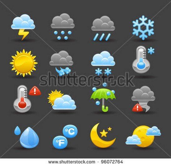 Dark series weather icon set