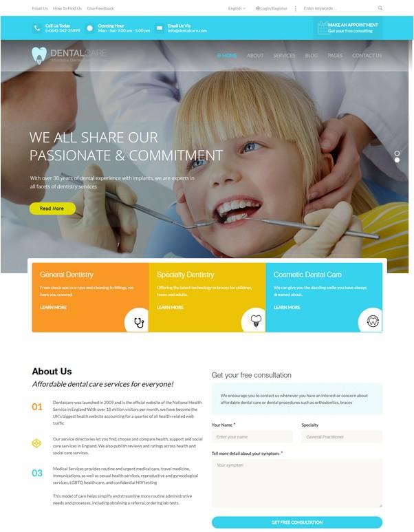 Dentalcare - Medical & Health WordPress Theme